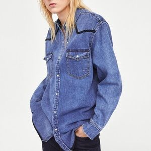 Zara Denim Pearl Button-Down Western Shirt